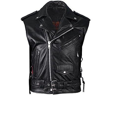 size 40 0eef4 e7b95 Gilet Smanicato Vest Pelle Stile Chiodo Uomo x Motociclisti ...