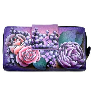 Anuschka Two Fold Organizer Wallet Flap & Zip Hand Painted Genuine Leather (Lush Lilacs)
