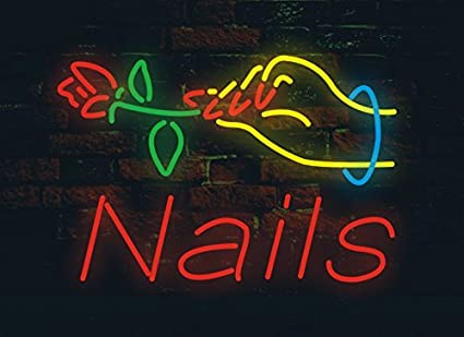 QuotNailsquot Hand Flower On Top Design Customizable Neon Sign 17w