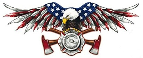 AMERICAN FIREFIGHTER EAGLE WITH USA FLAG ON WINGS HELMET STICKER BUMPER STICKER (Eagle Firefighter)