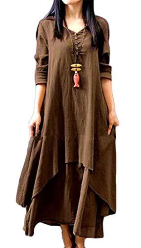 Button Neck Linen Womens V Long Dresses Cotton amp;H Sleeve Two Long Color C Solid Flare Khaki Fake Irregular Swing Bg4xqw