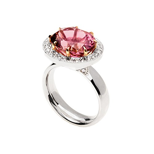 - Precious Stars 14k Two-Tone Gold 1/2ct TDW Diamond Oval-Cut Pink Tourmaline Halo Ring (G-H, VS1-VS2)