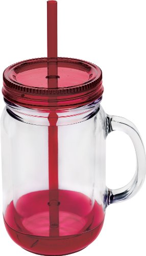 Culver Double Walled Insulated Plastic Mason Jar Tumbler with Twist Lid and Straw, 20-Ounce, Maroon