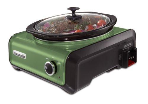 Crock-Pot SCCPMD3-GR Hook Up Oval Connectable Entertaining System, 3.5-Quart, Metallic Sage