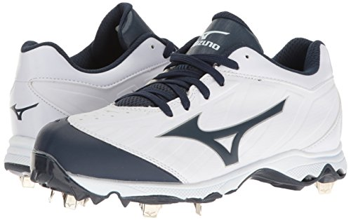 Mizuno Women's 9-Spike Advanced Sweep 3 Softball Shoe, White-Navy, 6.5 D US by Mizuno (Image #6)