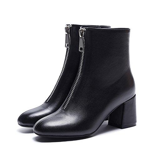 Ronda de espesor con botas y mujeres Tacones de cuero de vaca de moda black