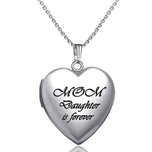 YOUFENG Love Heart Locket Necklace That Holds Pictures Engraved Always in My Heart Memories Photo Lockets (Mom Daughter Locket)