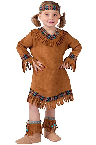 [Fun World Costumes Baby Girl's Native American Toddler Girl Costume, Brown, Small(24M-2T)] (Toddler Indian Costumes)