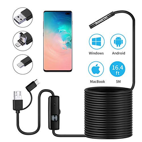 USB Endoscope Inspection Borescopes - RonaLOC 3 in 1 Semi Rigid 720P HD with 5.5mm Waterproof Snake Camera, 6 Adjustable Led for Android Smart Phone, MacBook, Windows PC (16.4 FT)
