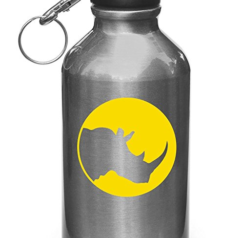 "Rhino Silhouette Circle - Vinyl Decal for Water Bottle | Thermos | Car Gas Cap - Copyright © Yadda-Yadda Design Co. (3"") (COLOR CHOICES) (YELLOW, Small)"