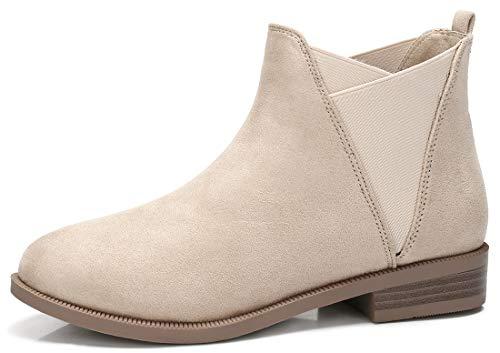(CAMEL CROWN Women's Suede Chelsea Boots Stacked Low Block Heel Ankle Booties, Beige, 7 US)
