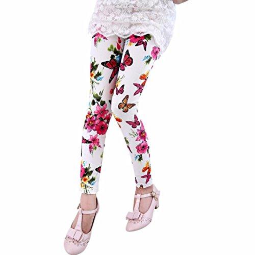 Hot Sale!!2-8 Years Old Toddler Leggings,Kids Baby Girls Printing Flower Pants Tight (White, 7-8Y)