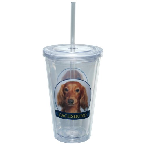 LittleGifts Dachshund Double-Walled Eco Plastic Drinking Cups 16-Ounce -