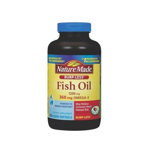 Nature Made Burp-less Fish Oil, 1200 Mg, 360 mg Omega-3, 250 Liquid Softgels