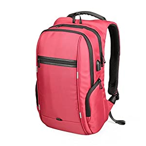 "15""17"" Laptop Backpack USB Charge Computer Backpacks Anti-theft Waterproof Bags for Men Women Model A Red 17 Inch"