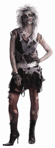 Zombie Punk Halloween Costume (Woman's Zombie Punk Costume, Black/Gray, One Size)
