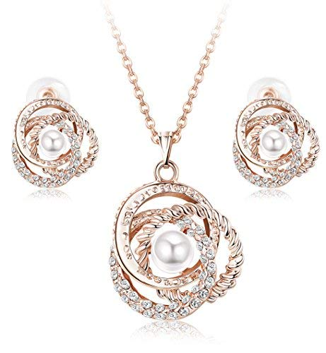 Hanpabum Rose Gold Plated Flower Pearl Pendant Necklace and Stud Earrings Set for Women Jewelry Gift
