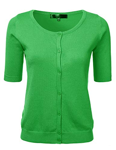 Womens Button Down Fitted Short Sleeve Fine Knit Top Cardigan Sweater Green L