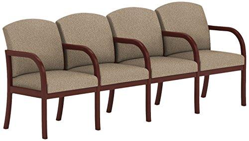 Lesro Weston 4 Seats with Center Arms in Mahogany Finish, Tendril River Rock - Lesro Four Seat