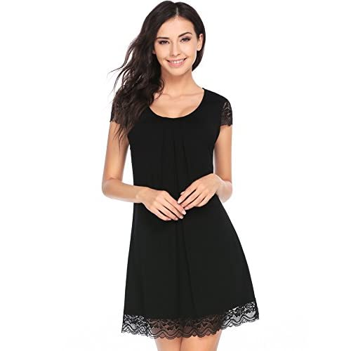 Ekouaer Nightgown Womens Sleepwear Lace Cap Sleeve Chemise Sleepshirt free shipping