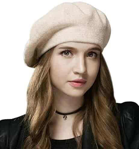 8faa8f7df8aec Sumolux Women Beret Hat French Wool Beret Beanie Cap Classic Solid Color  Autumn Winter Hats