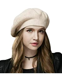 Sumolux Women Beret Hat French Wool Beret Beanie Cap Classic Solid Color Autumn Winter Hats