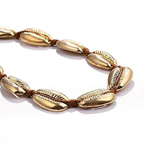 Chain Shell - HOOPEN Women Choker Shell Conch Necklace Pendant Beach Velvet Chain Jewelry (Gold)