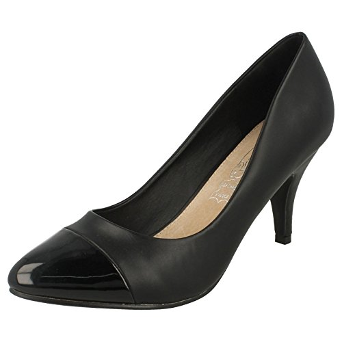 Glissement De Sur Dames Les Sur noir F9808 Noir La Cour Verni Chaussures Place qxw6OxgE