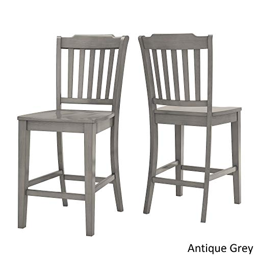 Inspire Q Eleanor Slat Back Wood 24 in. Counter Chair (Set of 2) by Classic Grey Antique, -