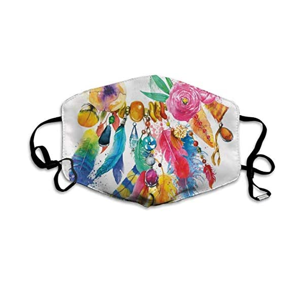 YYTT8-Gesichtsschutz-Mundschutz-Bhmisch-inspirierte-lebendige-farbige-Bildblumen-Zierelemente-Bltter-drucken
