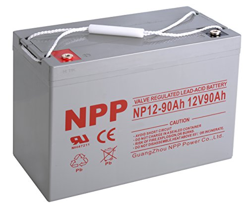 NPP 12V 90 Amp NP12 90Ah Rechargeable Sealed Lead Acid Battery With Button Style Terminals by NPP