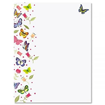 Amazon Com Butterflies Spring Letter Papers Set Of 25 Floral