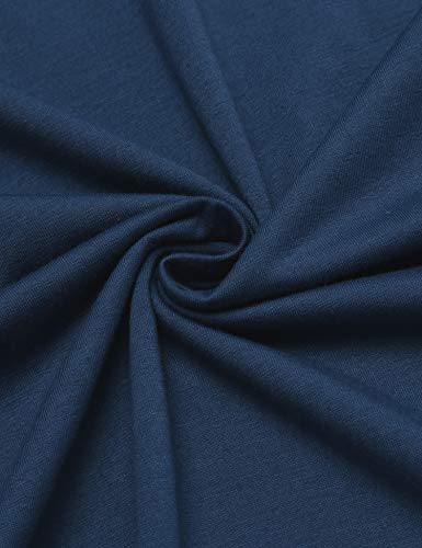 luxilooks Womens Long Nightshirts V Neck Sleepwear Short Sleeve Maxi Loungewear(Blue, Large)