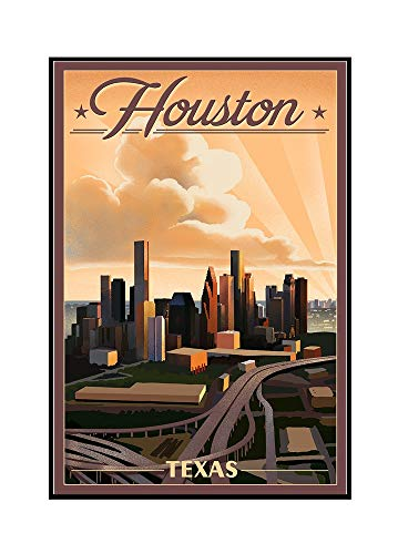 Framed Houston Lithograph (Houston, Texas - Lithograph (24x36 Framed Gallery Wrapped Stretched Canvas))