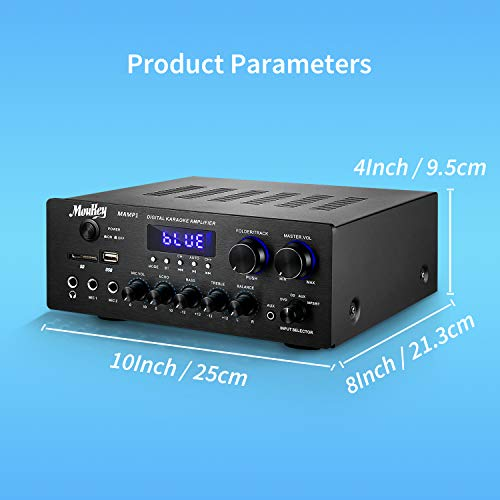 Moukey Bluetooth 5.0 Power Home Audio Amplifier – 220W Dual Channel Sound Audio Stereo Receiver System w/USB, SD, AUX…