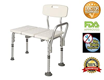 HEALTHLINE Tub Transfer Bench, Lightweight Medical Bath and Shower Chair with Back Non-Slip Seat, Bathtub Transfer Bench for Elderly and Disabled, Adjustable Height, White