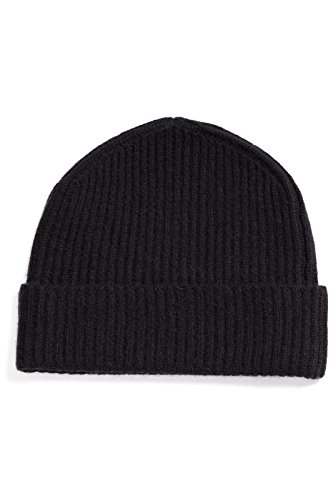 Fishers Finery Women's 100% Cashmere Ribbed Hat; Cuffed; Super Soft (Black)