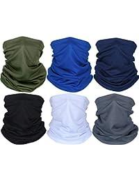 Summer Face Cover UV Protection Neck Gaiter Scarf Sunscreen Breathable Bandana (Black, Dark Grey, Royal Blue, Army Green, Navy Blue, White, 6)