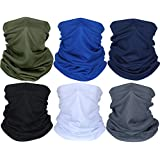 Summer Face Cover UV Protection Neck Gaiter Scarf Sunscreen Breathable Bandana (Black, Dark Grey, Royal Blue, Army Green, Navy Blue, White, 6)