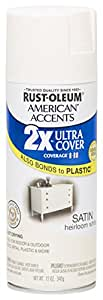 Rust Oleum 280719 American Accents Ultra Cover 2X Spray Paint, Satin Heirloom White, 12-Ounce