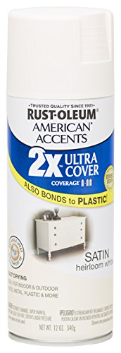 Rust Oleum 280719 American Accents Ultra Cover 2X Spray Paint, Satin Heirloom White, 12-Ounce (White Rustoleum Spray Paint)