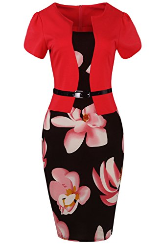 Women's Patchwork Floral Print Work Business Bodycon Pencil Dress,Red,XL