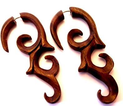 Faux Dilatador pendientes Piercing madera étnico Gauge Wooden Wood ...