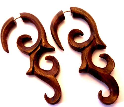 Faux Dilatador pendientes Piercing madera étnico Gauge Wooden Wood-Fake espiral: Amazon.es: Joyería
