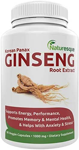 Korean Red Panax Ginseng Extract 1000mg - Energy & Stamina Booster - 90 Capsules Improves Strength, Endurance and Mental Performance | Pills for Men & Women by Naturesque