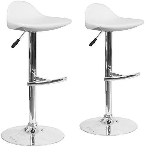Flash Furniture 2 Pk. Contemporary White Vinyl Adjustable Height Saddle Style Barstool with Chrome Base
