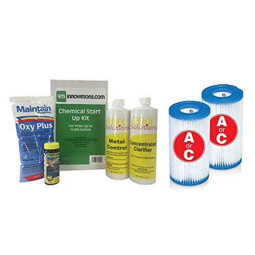 (Intex Swimming Pool Spring Start-up Chemical Opening Kit w Easy Set Pool Type A/C Filter Cartridges)