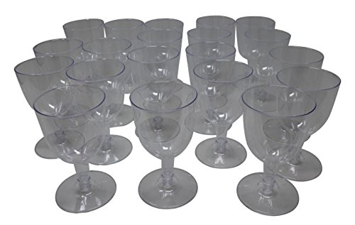 Plastic Wine Glasses (Pack of 20) Party Essential Clear Reusable Wine Glasses