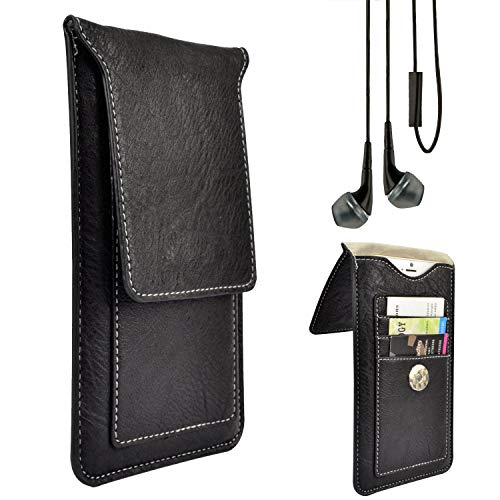 Professional Vegan Leather Vertical Smartphone Holster Wallet Case (Black) & Deluxe Stereo Hands-Free Headset fits iPhone Xs/X/Samsung Galaxy S10e / S10 / J7 / Google Pixel 3 / LG Q9 / G8 ThinQ