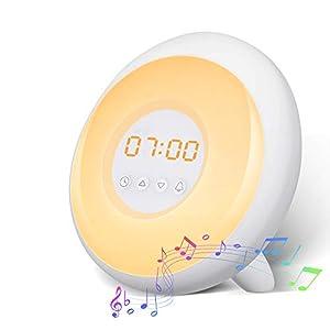 Lampe Réveil, SOLMORE Réveil Matin avec 8 Couleurs et Luminosité Ajustable, 3 Alarmes, 5 Sonneries, Simulation du Lever…